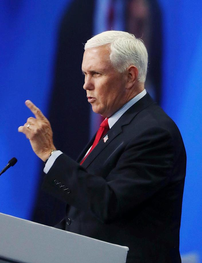 Former vice president Mike Pence speaks during the Road to Majority convention at Gaylord Palms Resort & Convention Center in Kissimmee, Fla., on Friday, June 18, 2021.
