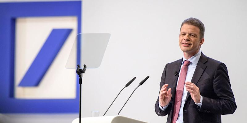 FRANKFURT AM MAIN, GERMANY - MAY 24: Christian Sewing, the new CEO of Deutsche Bank, speaks at the Deutsche Bank annual shareholders' meeting on May 24, 2018 in Frankfurt, Germany. Shareholders, frustrated by years of poor performance by Deutsche Bank, are calling for Achleitner to step down. (Photo by )