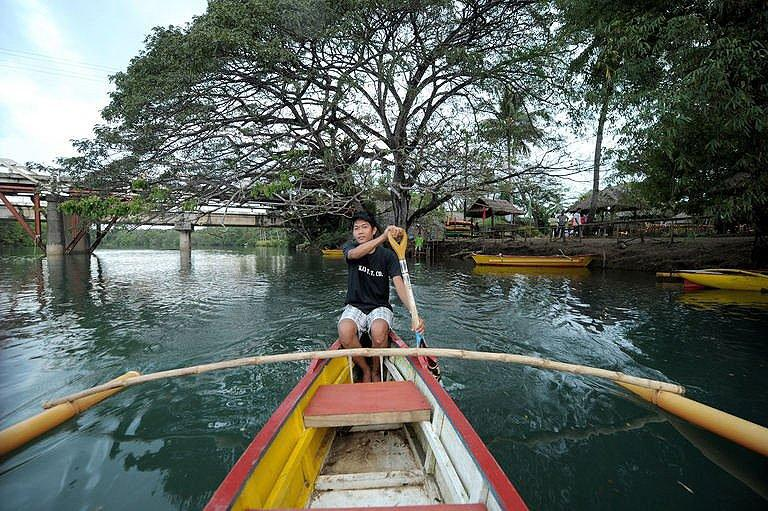 Tourist guide Anthony Cuvinar rowing his kayak