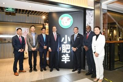 Governor Bevin and delegation in front of Shanghai Wujiaochang Little Sheep store