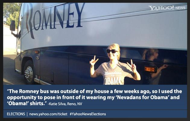 Obama supporter Katie Silva poses in front of the Romney bus in Reno, Nevada.