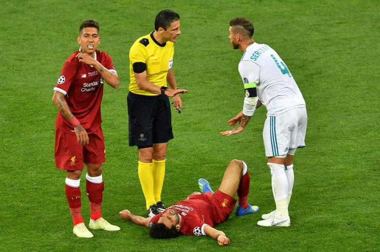 Floored: Mohamed Salah has struggled to recover from a shoulder injury suffered in last season's Champions League final