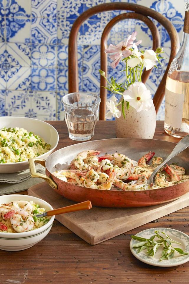 """<p>Simply seasoned with Herbes de Provence (a mix of herbs including marjarom, oregano, lavender, rosemary and tarragon) this quick meal is served with a flavorful lemony pea couscous. </p><p><strong><a href=""""https://www.countryliving.com/food-drinks/a32042730/herbes-de-provence-shrimp-with-basil-and-pea-couscous/"""" target=""""_blank"""">Get the recipe</a><strong>.</strong><strong></strong></strong><br>  </p>"""