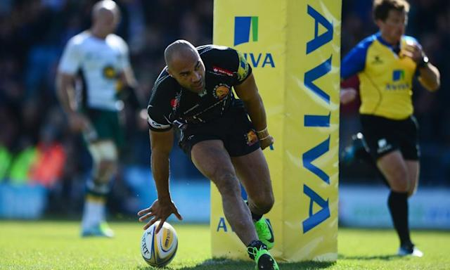 "<span class=""element-image__caption"">Exeter's Olly Woodburn touches down his 10th Premiership try of the season during the win over Northampton.</span> <span class=""element-image__credit"">Photograph: Harry Trump/Getty Images</span>"