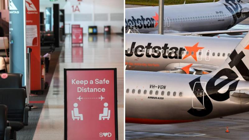 A sign at Sydney Airport warning people to keep social distancing on the left, and three Jetstar planes on the tarmac on the right.