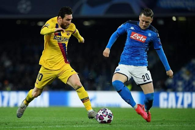 Lionel Messi and Barcelona drew in Naples in February and their Champions League hopes rest on the leg (AFP Photo/Filippo MONTEFORTE)
