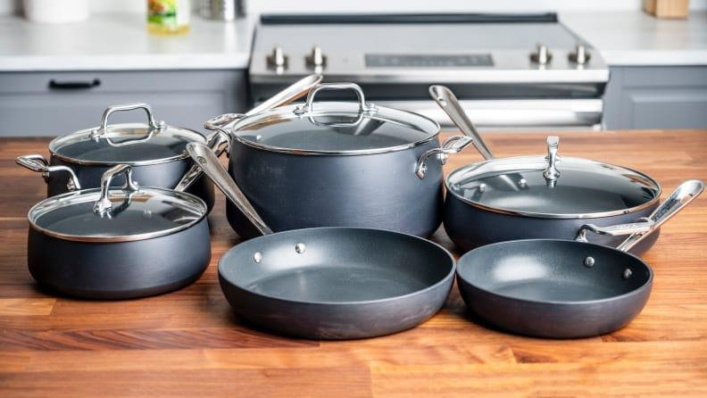 Our favorite nonstick cookware is the All-Clad HA1 Hard-Anodized Nonstick 10-Piece Cookware Set.