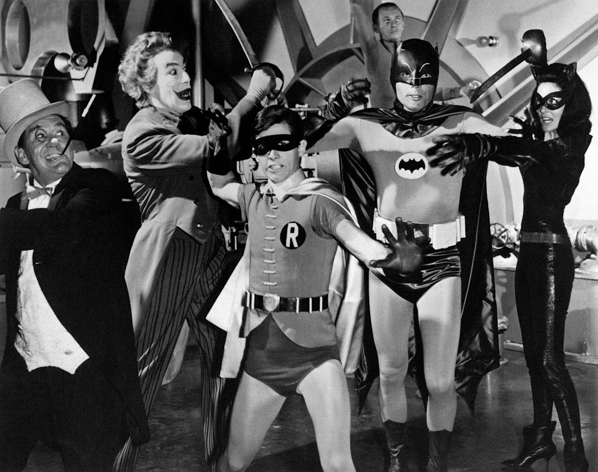"<p>Burgess Meredith playing the Penguin, Cesar Romero playing the Joker, Burt Ward playing Robin, Adam West playing Batman and American actress Julie Newmar playing Catwoman appear in a still from the TV series ""Batman,"" 1966. (Photo: Mondadori Portfolio by Getty Images) </p>"