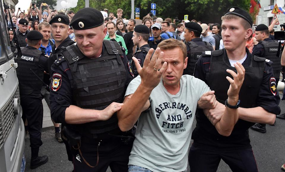Navalny being arrested in June 2019 during a Moscow marchAFP/Getty