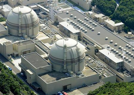An aerial view shows Kansai Electric Power Co's Ohi nuclear power plant's No. 4 reactor (front) in Ohi, Fukui prefecture, in this photo taken by Kyodo July 19, 2012.