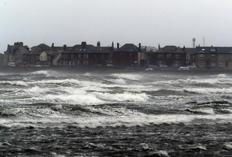 Stormy seas at Troon Beach in Ayrshire (PA)