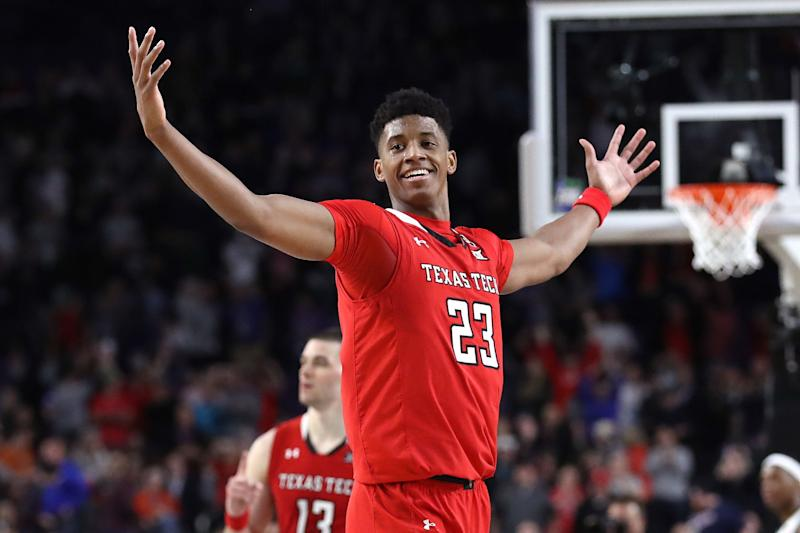 MINNEAPOLIS, MINNESOTA - APRIL 06: Jarrett Culver #23 of the Texas Tech Red Raiders celebrates late in the second half against the Michigan State Spartans during the 2019 NCAA Final Four semifinal at U.S. Bank Stadium on April 6, 2019 in Minneapolis, Minnesota. (Photo by Streeter Lecka/Getty Images)