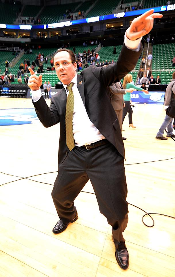 SALT LAKE CITY, UT - MARCH 23:  Head Coach Gregg Marshall of the Wichita State Shockers celebrates a 76-70 won over the Gonzaga Bulldogs during the third round of the 2013 NCAA Basketball Tournament at EnergySolutions Arena on March 23, 2013 in Salt Lake City, Utah.  (Photo by Harry How/Getty Images)