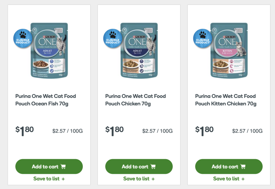 As long as shoppers spend over $30, they can get five Ooshies from buying five Purina One pouches. Source: Woolworths