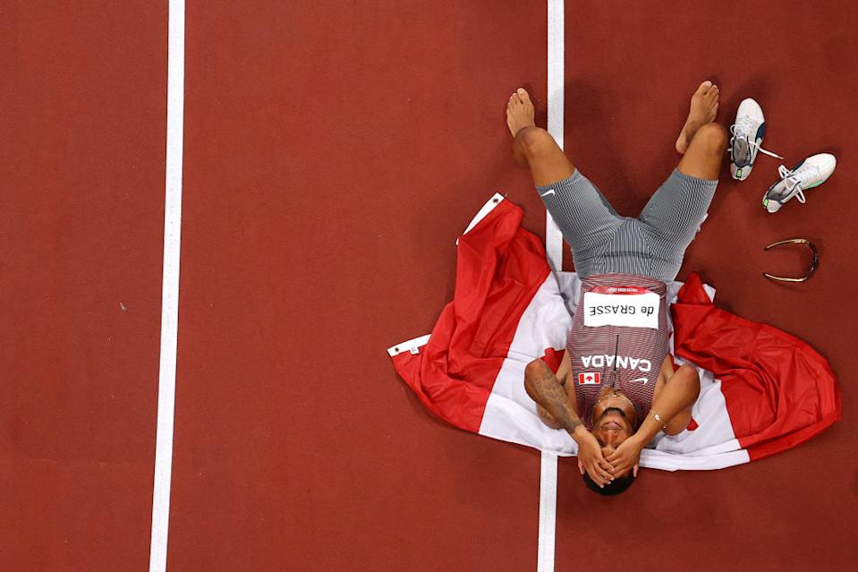 Andre De Grasse won the men's 200m gold medal on Wednesday, the first Canadian to claim gold since 1928. (Getty)