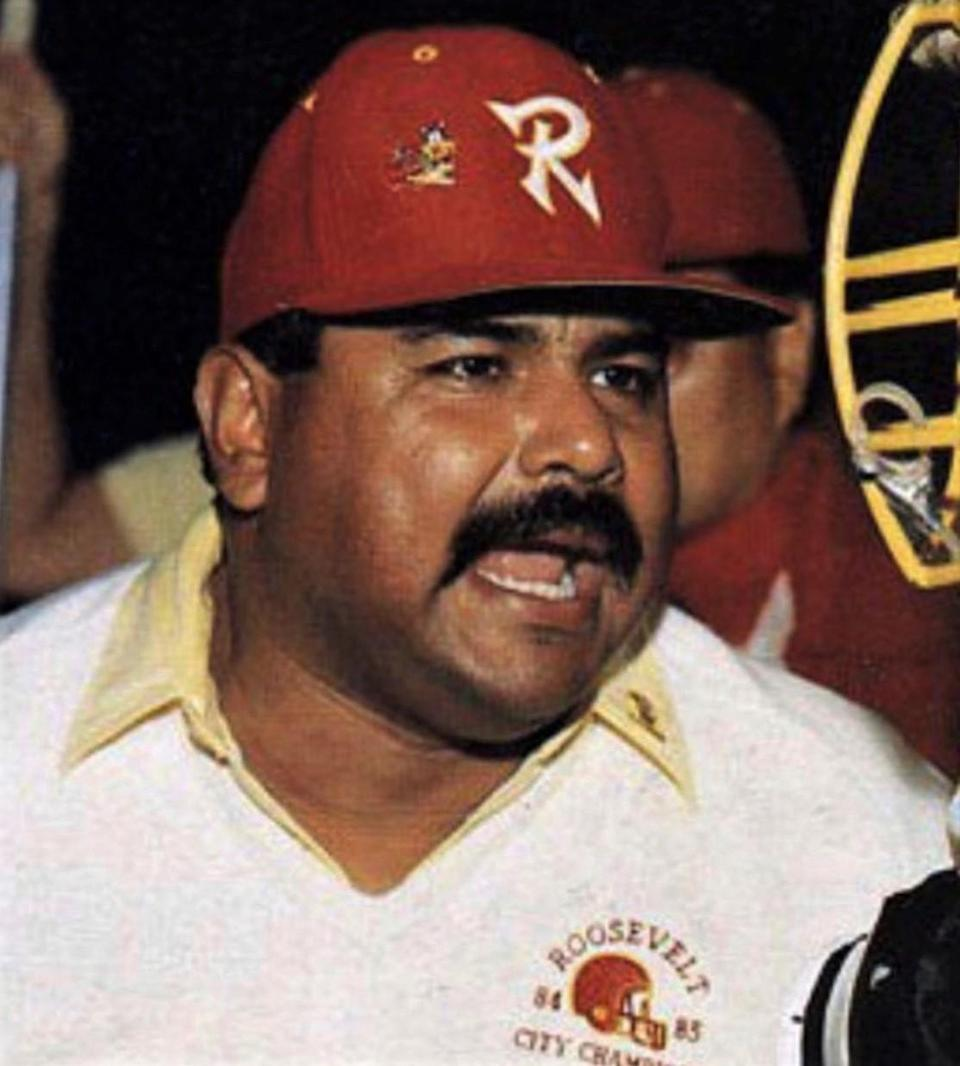Richard Guillen, Roosevelt High assistant football coach, is shown in a yearbook photo.