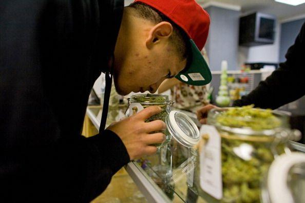 Lakewood, CO - MARCH, 4:  Patient Benito Marta smells a jar of cannabis inside a Good Meds medical cannabis center in Lakewood, Colorado, U.S., on Monday, March 4, 2013.   This is at a Good Meds medical cannabis center in Lakewood, and is one of the facilities that Kristi Kelly, Co-Founder of Good Meds Network, operates.  (Photo by Matthew Staver/For The Washington Post via Getty Images) (Photo: The Washington Post via The Washington Post via Getty Im)