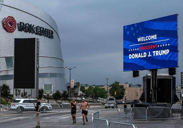 PHOTO: Donald Trump will hold his first rally since the outbreak of the Coronavirus (COVID-19) in Tulsa, Oklahoma, at the BOK Center in Tulsa, Oklahoma, June 19,2020. (Seth Herald/AFP via Getty Images)