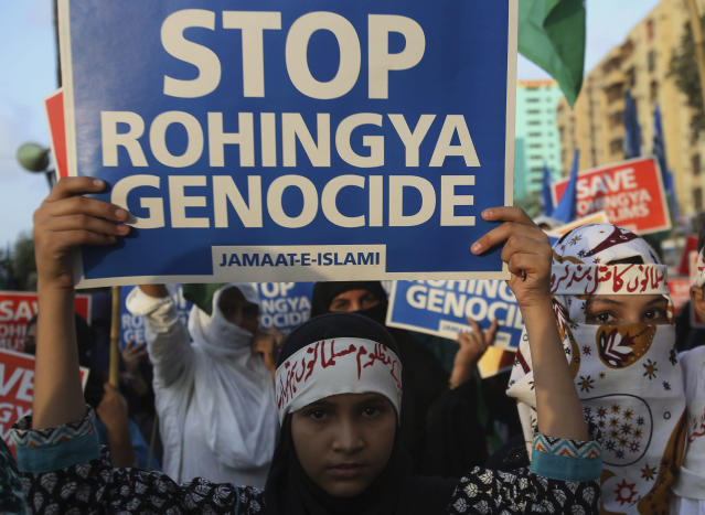 <p>Young supporters of Jamaat-e-Islami, a Pakistani religious group, take part in a rally to condemn ongoing violence against the Rohingya Muslim minority in Myanmar, in Karachi, Pakistan, Sunday, Sept.10, 2017. (Photo: Fareed Khan/AP) </p>