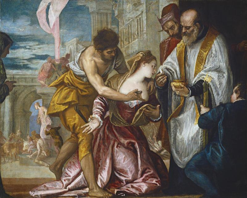 "This undated image released by Ringling Museum shows Paolo Veronese's ""Martyrdom and Last Communication of Saint Lucy."" Veronese captured 16th century Venice in all of its glory: rich people in sumptuous clothing, stunning architecture and vibrant colors.  More than 70 of his works are on display at the John and Mable Ringling Museum of Art in Sarasota, Fla. The special exhibit  runs through April 14, 2013.  (AP Photo/Ringling Museum)"