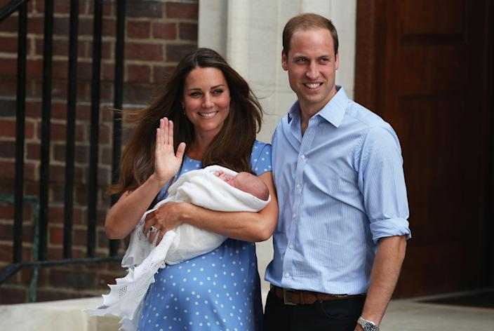 Welcome to the world! Making his debut on the steps of the Lindo Wing. (Getty Images)