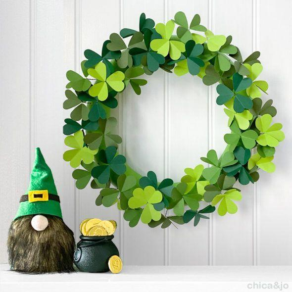 """<p>This project cleverly uses paper hearts to create three-leaf clovers. It's easy to add a fourth heart to each for a wreath that's as lucky as it lovely.</p><p><strong>Get the tutorial at <a href=""""https://www.chicaandjo.com/paper-clover-wreath-for-st-patricks-day/"""" rel=""""nofollow noopener"""" target=""""_blank"""" data-ylk=""""slk:Chica and Jo"""" class=""""link rapid-noclick-resp"""">Chica and Jo</a>. </strong></p><p><a class=""""link rapid-noclick-resp"""" href=""""https://go.redirectingat.com?id=74968X1596630&url=https%3A%2F%2Fwww.walmart.com%2Fsearch%2F%3Fquery%3Dpaper%2Bheart%2Bpunch&sref=https%3A%2F%2Fwww.thepioneerwoman.com%2Fhome-lifestyle%2Fcrafts-diy%2Fg34931626%2Fst-patricks-day-decorations%2F"""" rel=""""nofollow noopener"""" target=""""_blank"""" data-ylk=""""slk:SHOP PAPER HEART PUNCH"""">SHOP PAPER HEART PUNCH</a><br></p>"""