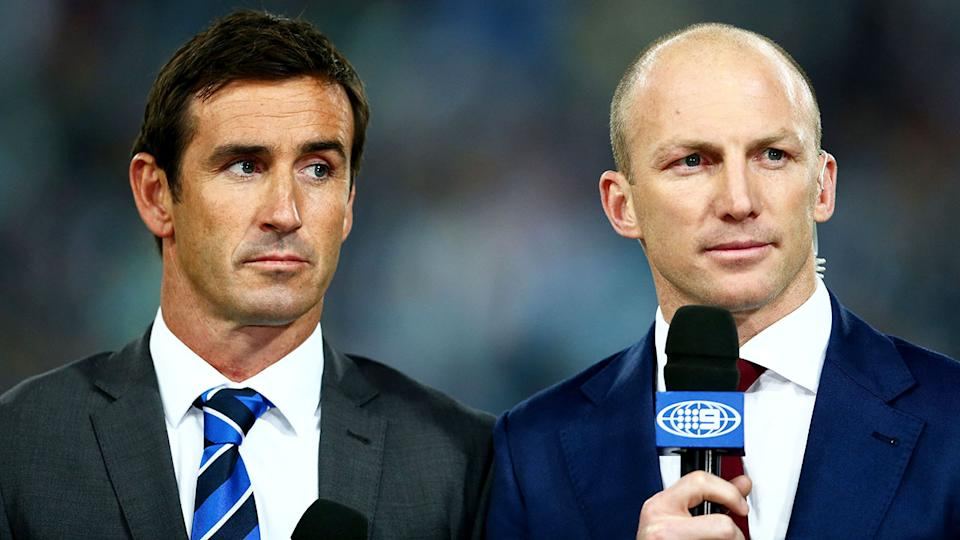 Pictured here, Channel Nine commentators Andrew Johns and Darren Lockyer.