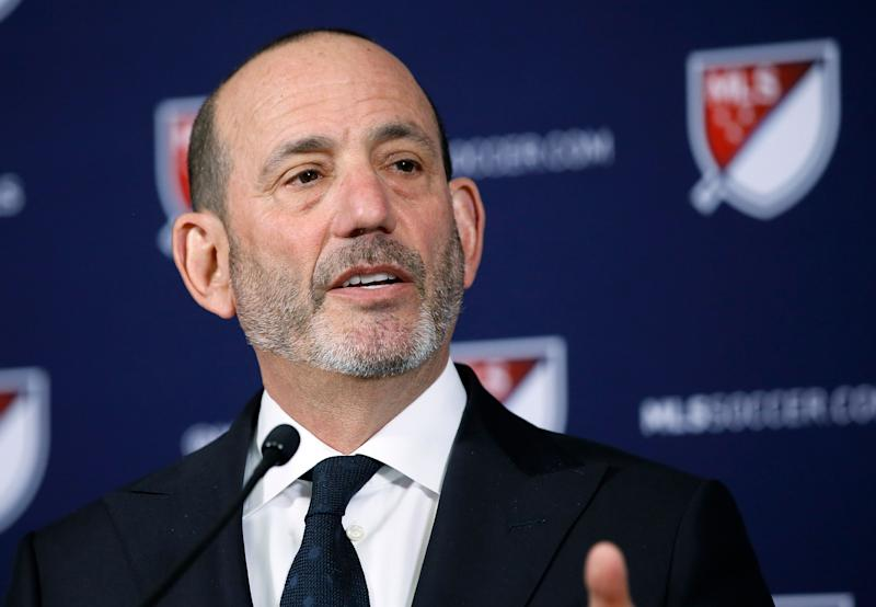 Major League Soccer Commissioner Don Garber speaks at a news conference in Los Angeles, Thursday, April 18, 2019. Sacramento and St. Louis have been invited to submit formal bids for franchises as the MLS Board of Governors formally unveiled plans Thursday to expand to 30 teams. (AP Photo/Alex Gallardo)
