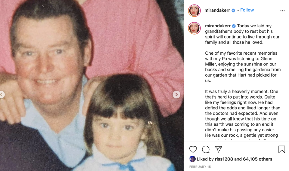 miranda kerr tribute post to grandfather