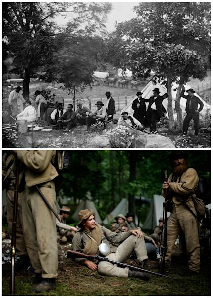 This combination image shows, top, a photo made available by the Library of Congress of the rear view of the camp of Capt. John J. Hoff of the Union Army in Gettysburg, Pa., in July 1865, and bottom, members of the 1st Tennessee waiting to take part in a demonstration of a battle during ongoing activities commemorating the 150th anniversary of the Battle of Gettysburg, Friday, June 28, 2013, at Bushey Farm in Gettysburg, Pa. (AP Photo)