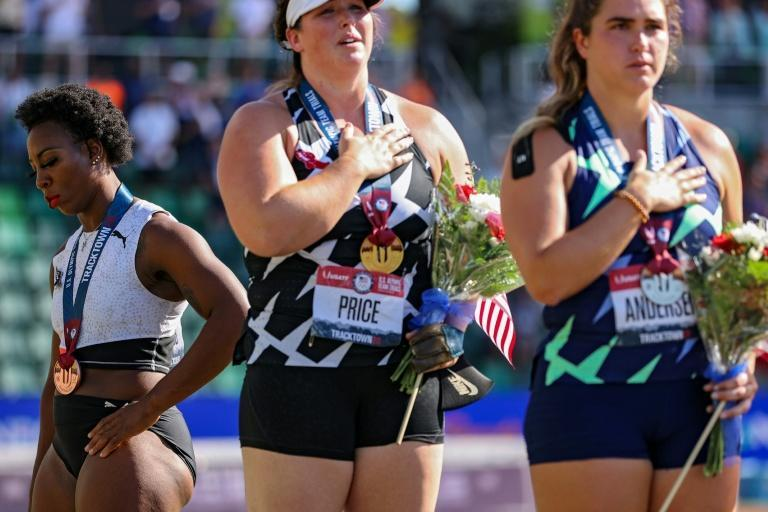US hammer thrower Gwen Berry turns away from the US flag during a medal ceremony at last month's US Olympic trials. Berry says she will continue to protest in Tokyo