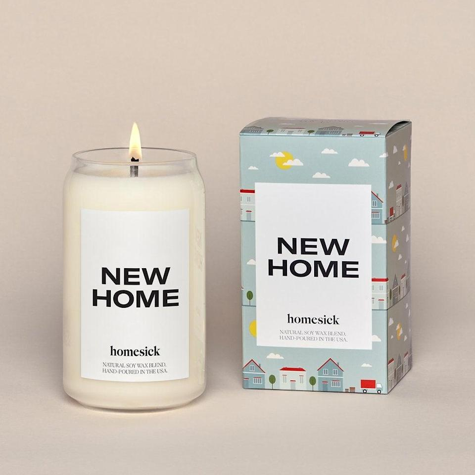 "<h2>New Home Candle</h2><br>Get the joke? Get it? <br><br><strong>Homesick Candles</strong> New Home Candle, $, available at <a href=""https://go.skimresources.com/?id=30283X879131&url=https%3A%2F%2Fhomesick.com%2Fproducts%2Fnew-home-candle%3F"" rel=""nofollow noopener"" target=""_blank"" data-ylk=""slk:Homesick Candles"" class=""link rapid-noclick-resp"">Homesick Candles</a>"