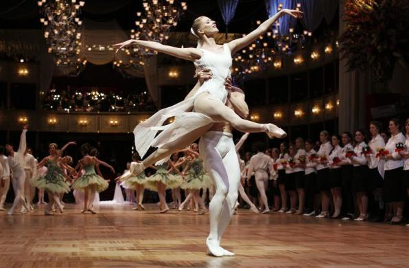 Dancers of the State Opera Ballet perform during a dress rehearsal for the traditional Opera Ball in Vienna February 15, 2012. The Vienna Opera Ball will take place on February 16, 2012.