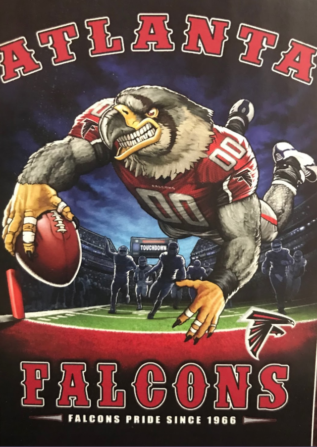Yes, that's a falcon. Kind of. (via Yahoo Sports)