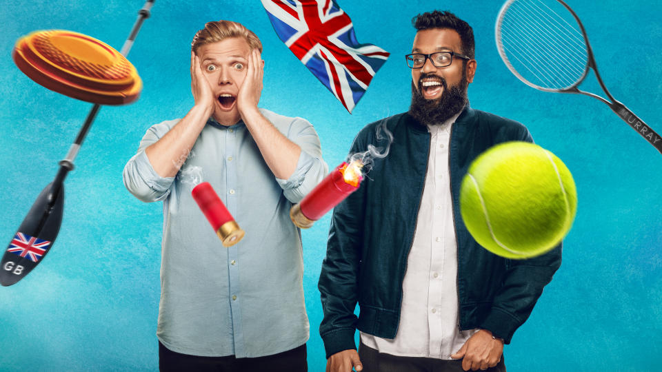 Rob Beckett and Romesh Ranganathan compete against each other in more challenges as 'Rob & Romesh Vs...' returns. (Sky UK)