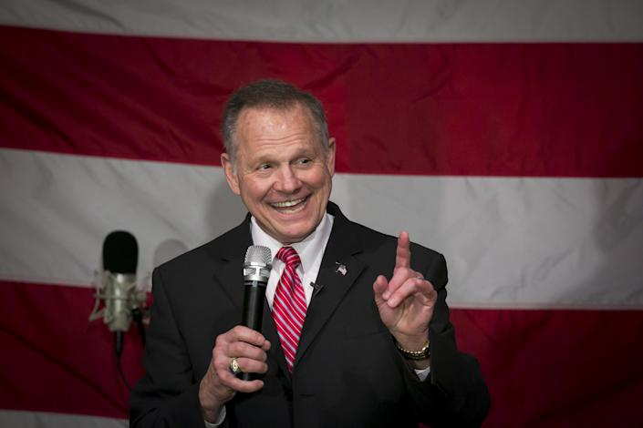 Roy Moore, Republican candidate for U.S. Senate from Alabama, speaks during a campaign rally in Fairhope, Ala., in December 2017. (Photo: Nicole Craine/Bloomberg via Getty Images)