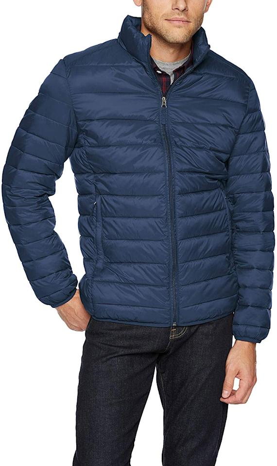 "<p>This <a href=""https://www.popsugar.com/buy/Amazon-Essentials-Men-Lightweight-Water-Resistant-Packable-Puffer-Jacket-505985?p_name=Amazon%20Essentials%20Men%27s%20Lightweight%20Water-Resistant%20Packable%20Puffer%20Jacket&retailer=amazon.com&pid=505985&price=39&evar1=savvy%3Aus&evar9=46799419&evar98=https%3A%2F%2Fwww.popsugar.com%2Fsmart-living%2Fphoto-gallery%2F46799419%2Fimage%2F46800130%2FAmazon-Essentials-Men-Lightweight-Water-Resistant-Packable-Puffer-Jacket&list1=shopping%2Camazon%2Choliday%2Cgift%20guide%2Cgifts%20for%20men&prop13=mobile&pdata=1"" rel=""nofollow"" data-shoppable-link=""1"" target=""_blank"" class=""ga-track"" data-ga-category=""Related"" data-ga-label=""https://www.amazon.com/Amazon-Essentials-Lightweight-Water-Resistant-Packable/dp/B07BN4C7VG/ref=sr_1_72?dchild=1&amp;psc=1&amp;qid=1571862377&amp;s=apparel&amp;sr=1-72"" data-ga-action=""In-Line Links"">Amazon Essentials Men's Lightweight Water-Resistant Packable Puffer Jacket</a> ($39) comes in lots of colors.</p>"