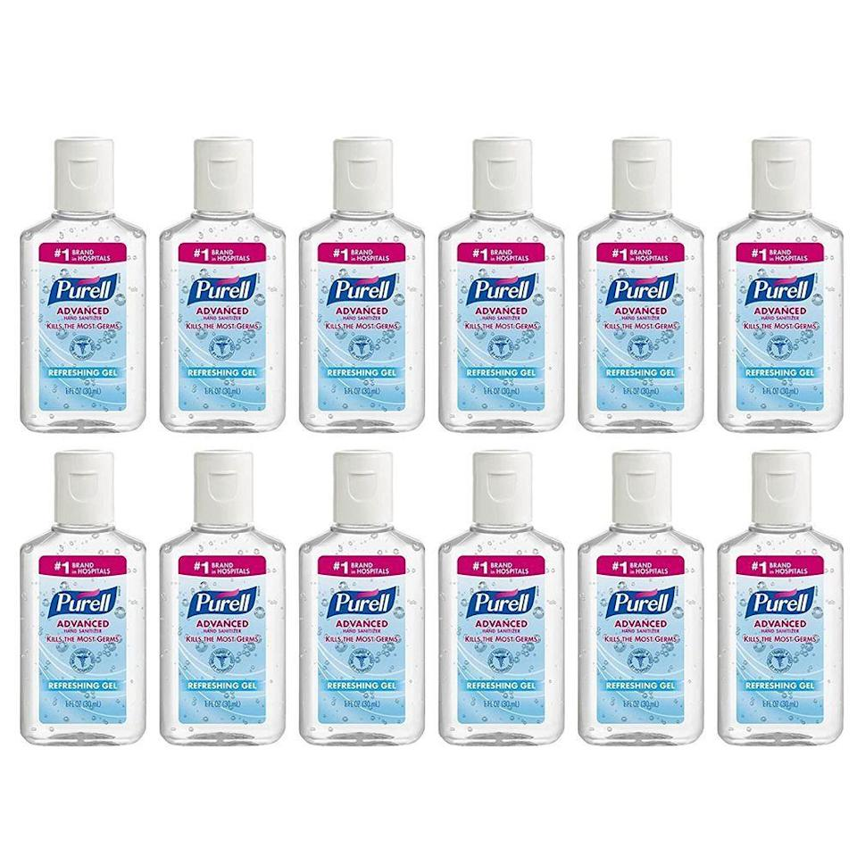 """<p><strong>Purell</strong></p><p>amazon.com</p><p><a href=""""https://www.amazon.com/dp/B00PG8SRLK?tag=syn-yahoo-20&ascsubtag=%5Bartid%7C2139.g.33415441%5Bsrc%7Cyahoo-us"""" rel=""""nofollow noopener"""" target=""""_blank"""" data-ylk=""""slk:BUY IT HERE"""" class=""""link rapid-noclick-resp"""">BUY IT HERE</a></p><p>Purrell is made with 70 percent ethyl alcohol, meaning it's perfect for fighting the novel coronavirus. These mini bottles are great for your car, bag, and bathroom. </p>"""