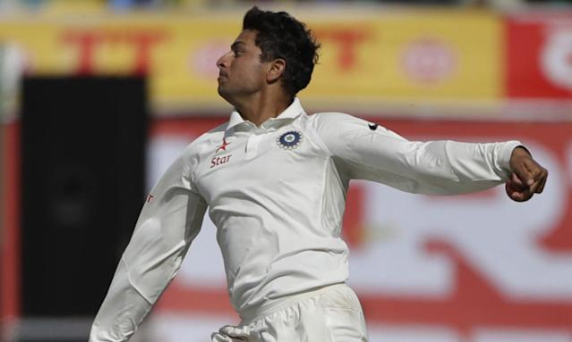 """<span class=""""element-image__caption"""">India's Kuldeep Yadav impressed during his debut in the fourth Test victory over Australia. He bowls left-arm wrist spin, which in the game has long been known as a 'chinaman' bowler.</span> <span class=""""element-image__credit"""">Photograph: Tsering Topgyal/AP</span>"""