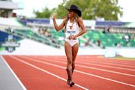 <p>Tara Davis of the Texas Longhorns celebrates after winning the long jump during the 2021 Division I Men's and Women's Outdoor Track & Field Championships held at Hayward Field on June 10, 2021 in Eugene, Oregon. (Photo by Jamie Schwaberow/NCAA Photos via Getty Images)</p>
