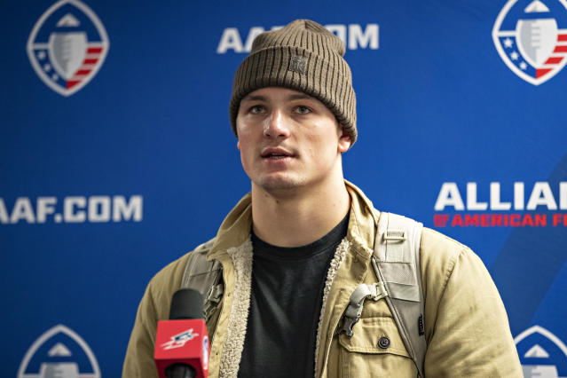 Christian Hackenberg is done with football and is trying to make it as a baseball player. (Photo by Wesley Hitt/AAF/Getty Images)