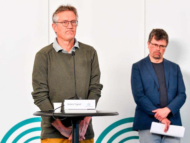 State epidemiologist Anders Tegnell (left) of the Public Health Agency of Sweden speaks during a news conference on a daily update on coronavirus. Source: AFP