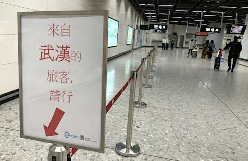 A special lane has been set up at West Kowloon high-speed railway station for travellers from Wuhan. Photo: May Tse