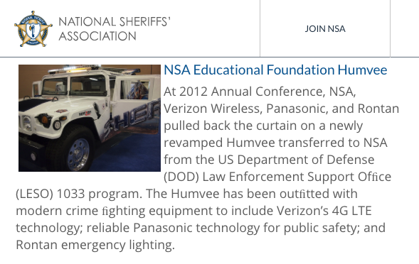 (Screenshot: National Sheriffs' Association)