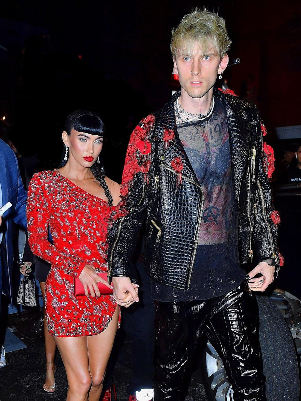 New York, NY - Machine Gun Kelly and Megan Fox look striking as they head to the Met Gala after-party at Cathédrale restaurant in NYC.