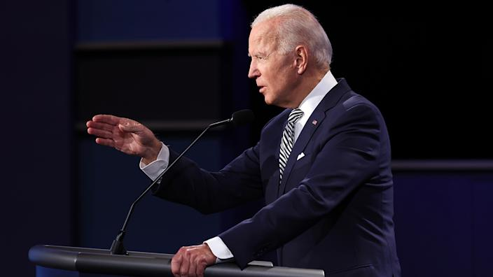 Joe Biden participates in the first presidential debate against U.S. President Donald Trump at the Health Education Campus of Case Western Reserve University on September 29, 2020 in Cleveland, Ohio. (Win McNamee/Getty Images)