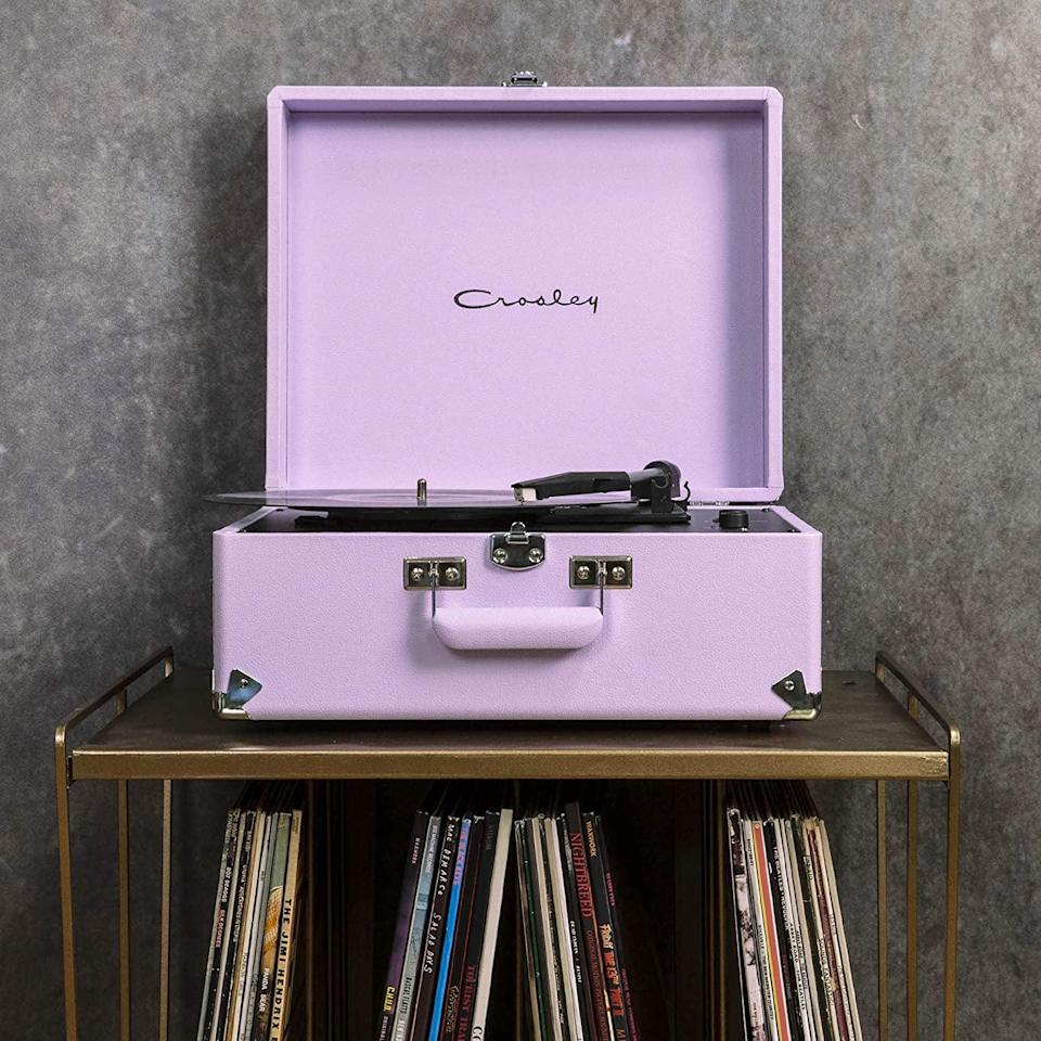 <p>Play some tunes in the living room with this pretty <span>Crosley Anthology Vintage 3-Speed Bluetooth Suitcase Turntable</span> ($125, originally $150) you can put out on display.</p>