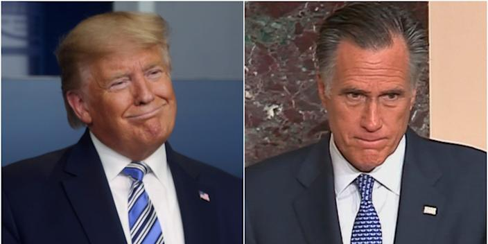 A composite image of President Donald Trump and Sen. Mitt Romney.