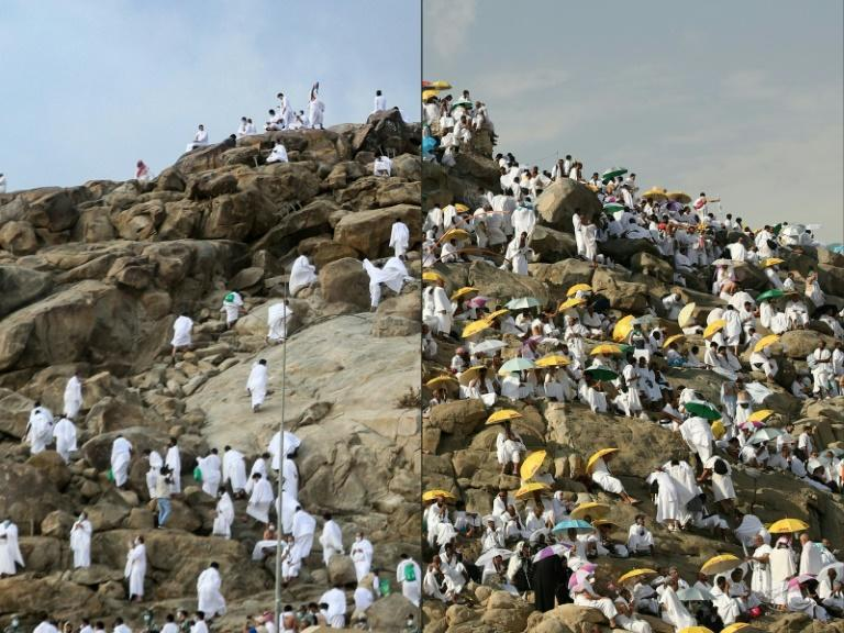 A smattering of Muslim pilgrims pray on Mount Arafat during the climax of the hajj in July, 2020 (L) and during the 2018 Hajj (R)