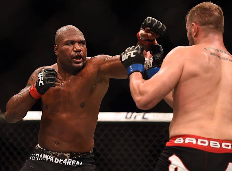 MONTREAL, QC - APRIL 25: (L-R) Quinton 'Rampage' Jackson of the United States punches Fabio Maldonado of Brazil in their UFC catchweight bout during the UFC 186 event at the Bell Centre on April 25, 2015 in Montreal, Quebec, Canada. (Photo by Jeff Bottari/Zuffa LLC/Zuffa LLC via Getty Images)